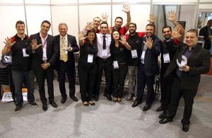 Collaborators celebrate the fifth award achieved